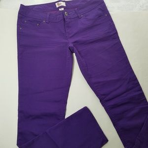 SO Skinny Jeans Jeggings Purple Midrise Juniors 15